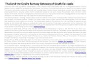 Thailand the Desire Fantasy Getaway of South East Asia