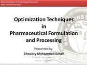 Optimization Techniques in Pharmaceutical Formulation and Processing