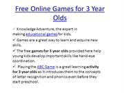 Free Online Games for 3 Year Olds