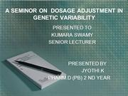 A SEMINOR ON  DOSAGE ADJUSTMENT IN GENETIC VARIABILITY