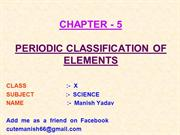 5-PERIODIC CLASSIFICATION OF ELEMENTS