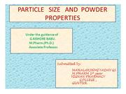 particle size and powder properties