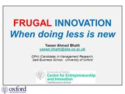 Frugal Innovation Research - When Doing Less is New