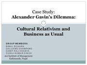Alexander Gavin's Dilemma.Cultural Relativism and Business as Usual