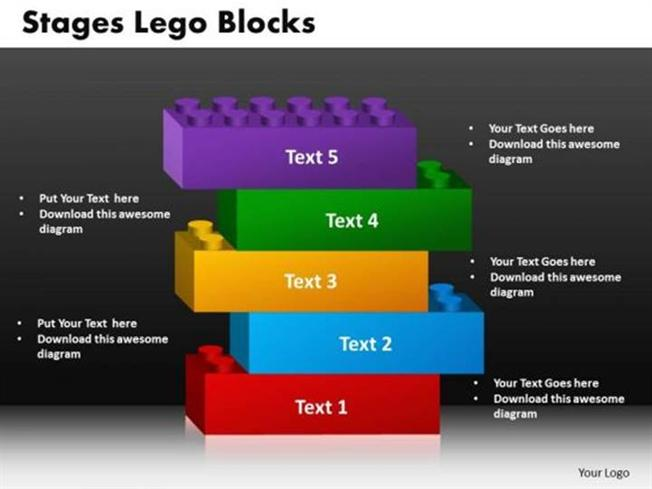 5 stages of stacked lego blocks marketing plan powerpoint diagram