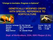 genetically modified crops with special reference to horticulture