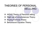 THEORIES OF PERSONAL SELLLING
