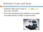 Trucks and Buses by Mahindra