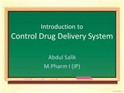 Introduction to control drug delivery sys