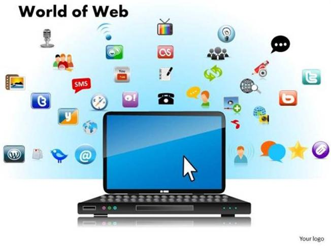 world of web social media and networking-powerpoint diagram, Modern powerpoint