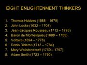 EIGHT ENLIGHTENMENT THINKERS