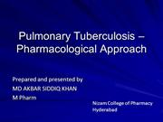 Tuberculosis - pharmacological approach