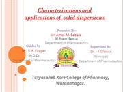 Solid dispersion characterization and aplication PPT