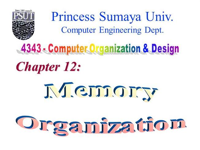 Chapter 12 Memory Organization Authorstream