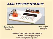 Karl Fisher Titration  By Ruchi Bhatia & Dr S Nayak
