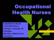 ROLE OF OCCUPATIONAL HEALTH NURSE