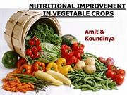 NUTRITIONAL IMPROVEMENT IN VEGETABLE CROPS