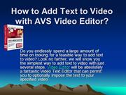 How to Add Text to Video with AVS Video Editor