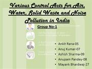 Various control acts for water, air, solid waste & noise pollution in