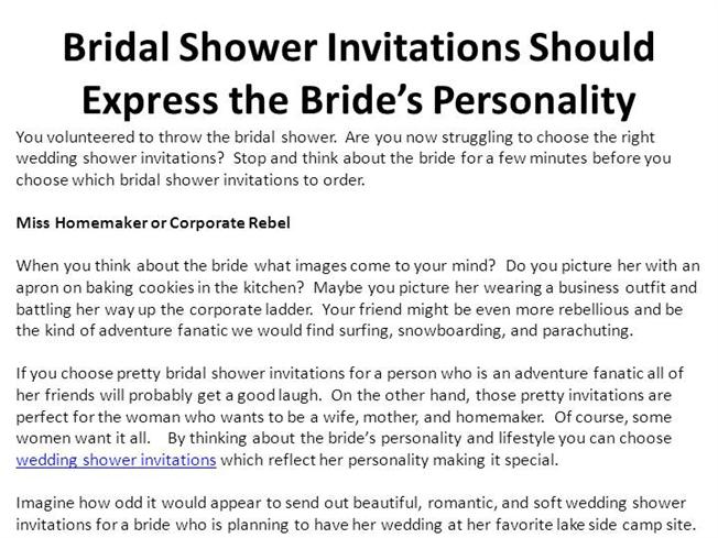 bridal shower invitations should express the bride authorstream