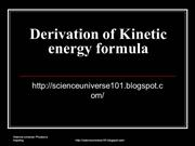 Derivation of Kinetic energy formula