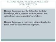 HUMAN RESOURCES MANAGEMENT-INTRODUCTION