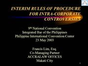 Rules of Procedure on Intra-Corporate Controversies