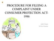 PROCEDURE FOR FILLING A COMPLAINT UNDER CONSUMER PROTECTION