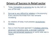 Drivers of Success in Retail sector