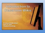 Intro to Classroom Wikis