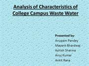 Analysis of Characteristics of College Campus Waste Water