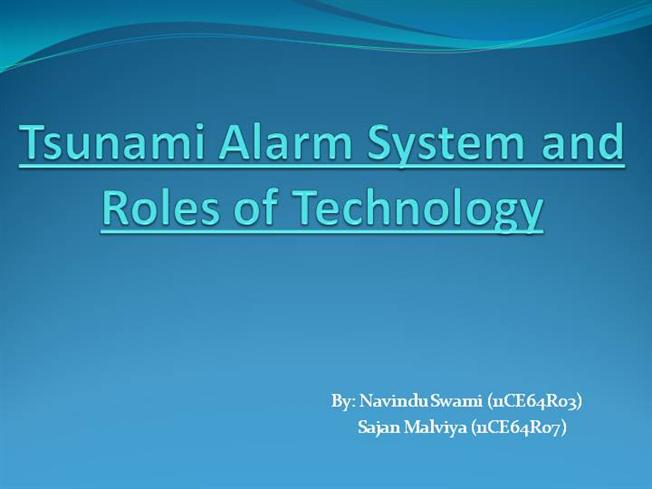 PPT for SEMINAR -Tsunami Alarm |authorSTREAM