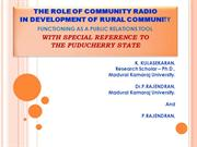 THE ROLE OF COMMUNITY RADIO