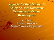 Agenda Setting Online A Study of User Comment Dynamics in Online Newsp