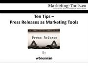 Press Releases as Marketing Tools
