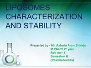 seminar on characterization and stability of liposomes