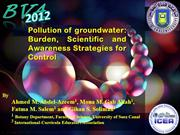 Pollution of groundwater: Burden, Scientific and Awareness Strategies