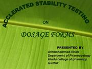 accelerated stability testing on dasage forms