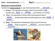 Animal Behavior notes