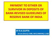 PAYMENT OF TERM DEPOSIT WITH MANDATE OF EITHER OR SURVIVOR OR FORMER O