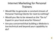 Internet Marketing for Personal Trainers