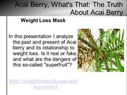 Acai Berry Whats That - The Truth About Acai Berry