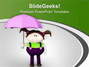 BABY GIRL WITH UMBRELLA PPT TEMPLATE