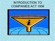 INTRODUCTION TO COMPANIES ACT 1956