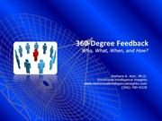 360-Degree Feedback  - Who, What, When and How?