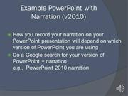 Example PowerPoint presentation with Narration