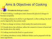 Aims & Objectives of Cooking