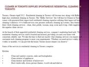 Cleaner in Toronto Supplies Spontaneous Residential Cleaning in Toront