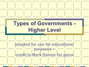 Types of Government - Higher Level