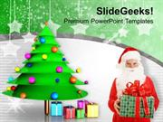 CHRISTIAN SANTA WITH CHRISTMAS GIFTS PARTY TIME PPT TEMPLATE